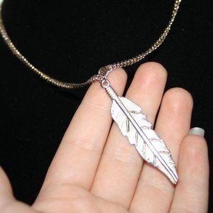 Vintagejelyfish Jewelry - Boho feather necklace gold adjustable